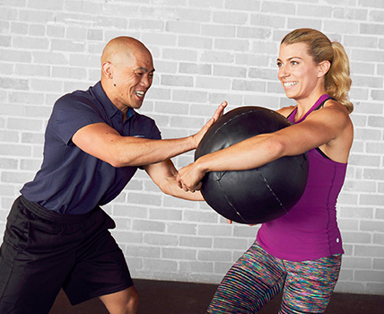 NASM certified personal trainer coaching a client
