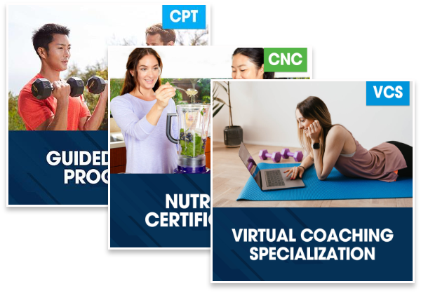 CPT Guided Study Plus Nutrition Certification Plus Virtual Coaching Specialization