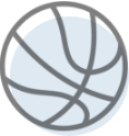 A graphical icon of a basketball
