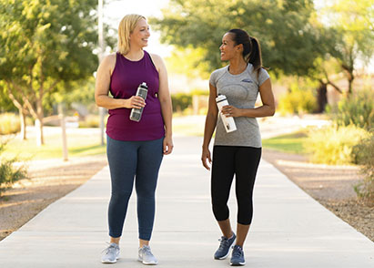 weight loss specialist walking with a client